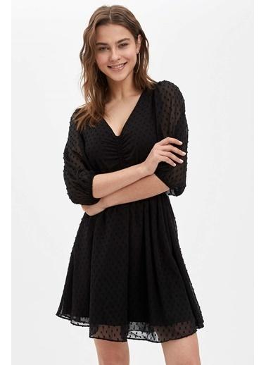 DeFacto Slim Fit Desenli Dokuma Elbise Siyah